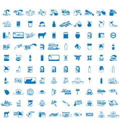 set of 100 Milk icons vector image