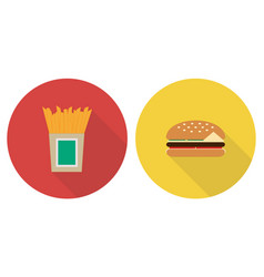 flat set french fries and hamburger vector image