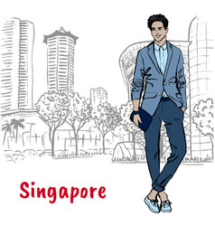 man on orchard road in singapore vector image