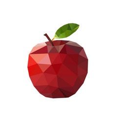 red apple in polygonal style vector image
