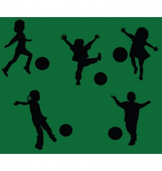 Kids playing footbal vector