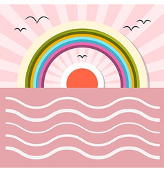 Ocean abstract retro with sun birds rainbow vector