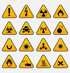 Warning hazard triangle signs vector