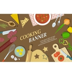 Cooking banner with kitchenware vector