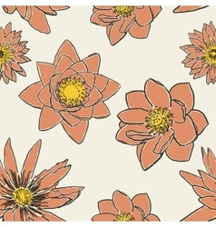Seamless pattern with flowers lotus water lily vector