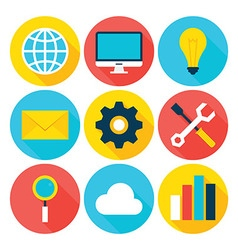 Business big data flat circle icons set vector