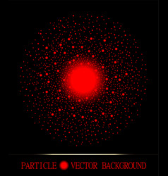 Abstract shpere of red glowing light particles vector