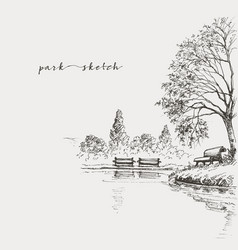 Artistic park sketch bench and lake vector