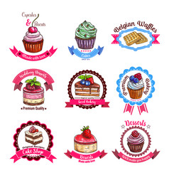 Bakery or pastry dessert cakes sketch icons vector