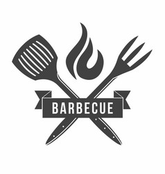 bbq grill and barbecue restaurant logo menu vector image