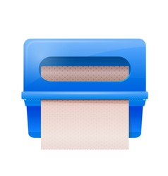 Blue bathroom wall mounted paper dispenser vector