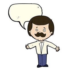 cartoon mustache man with open arms with speech vector image