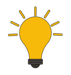 color image cartoon modern light bulb on with vector image vector image