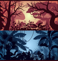 Deep tropical jungle and greenwood backgrounds vector