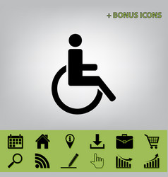 Disabled sign black icon at vector