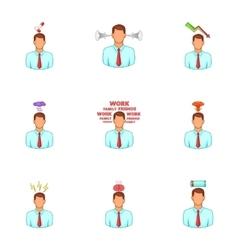 Emotional desperation icons set cartoon style vector