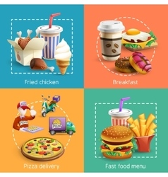 Fastfood 4 cartoon icons square composition vector
