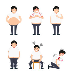 fat man with various diseases vector image vector image