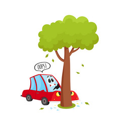 Flat cartoon car crashed into tree accident vector