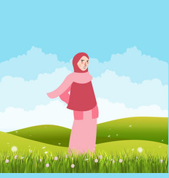 Girl standing alone in green field land wearing vector
