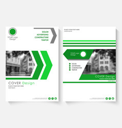 Green cover design template for annual report vector