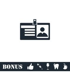 Identification card icon flat vector