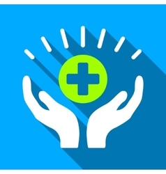 Medical prosperity hands flat long shadow square vector