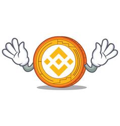 Mocking binance coin mascot catoon vector