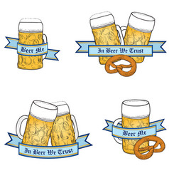 octoberfest beer icon set vector image vector image