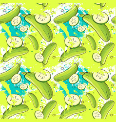 Seamless pattern zucchini vegetables ornament vector
