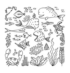set of cartoon fish and sea animals vector image