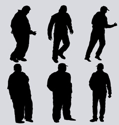 Silhouettes of obese men vector