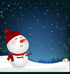 snowman cartoon smile and blank copy space vector image vector image