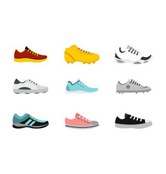 Sport shoes icon set flat style vector