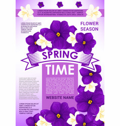 Springtime holidays card with spring flowers vector