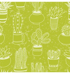 Succulents garden - seamless pattern vector image vector image