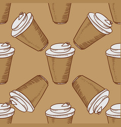 Take away cups of coffee seamless vector