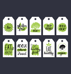 vegan healthy food cards or tags set for cafe vector image vector image