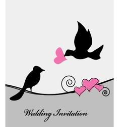 wedding card with bird vector image vector image