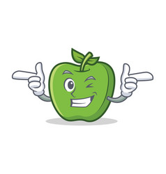 Wink green apple character cartoon vector