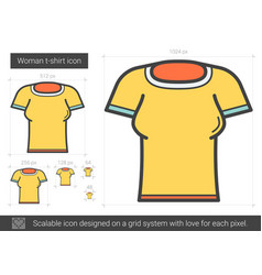 Woman t-shirt line icon vector
