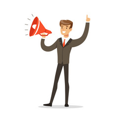 young businessman with loudspeaker vector image vector image