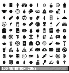 100 nutrition icons set simple style vector image vector image