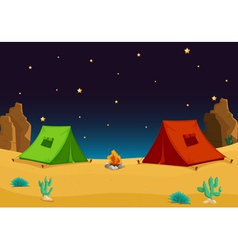 Camping in the desert vector