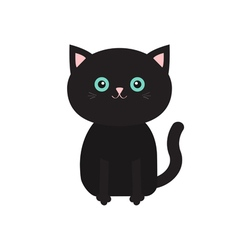 Cute sitting black cartoon cat with moustache vector