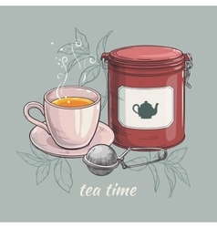 Cup of tea with tin packaging and tea-strainer vector