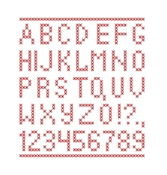 Embroided by cross stitch english alphabet with vector