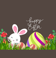 Green easter eggs and bunny background vector