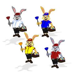 easter cheerful rabbit plumber vector image