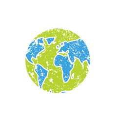 Earth grunge style spray and scratches planet vector